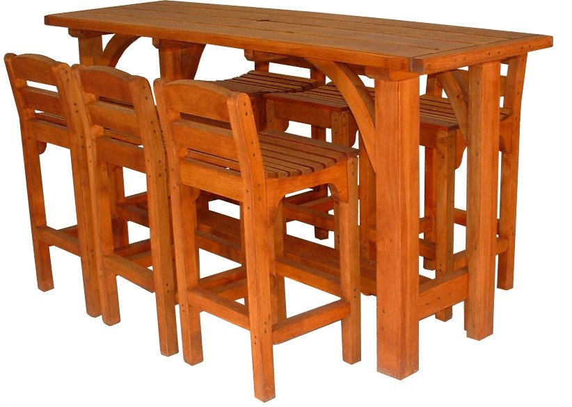 Weekend Craft Catalogue : Macrocarpa outdoor furniture bar leaner and 6 chairs11822585 from www.weekendcraft.co.nz size 822 x 585 jpeg 229kB