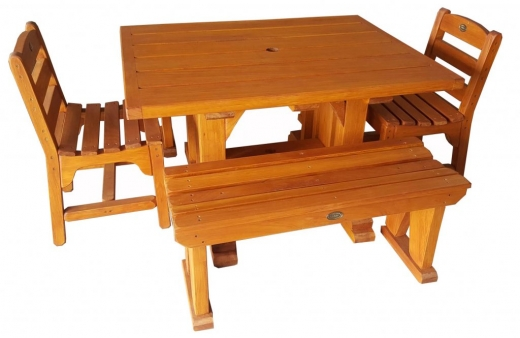 BBQ table 1200x930mm with chairs & 1000mm stools - $1620