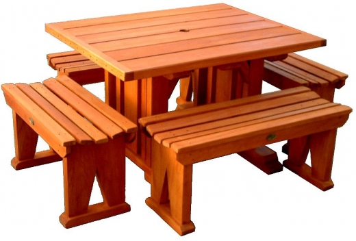 BBQ table 1200x930mm with 2 x 1m stools & 2 x 800mm stools - $1460