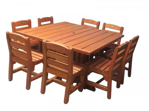PC table 1400x1400mm and 8 Chairs - $3840